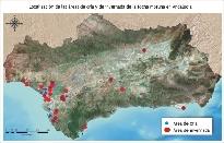 Localización de las áreas de cría y de invernada de la focha moruna en Andalucía