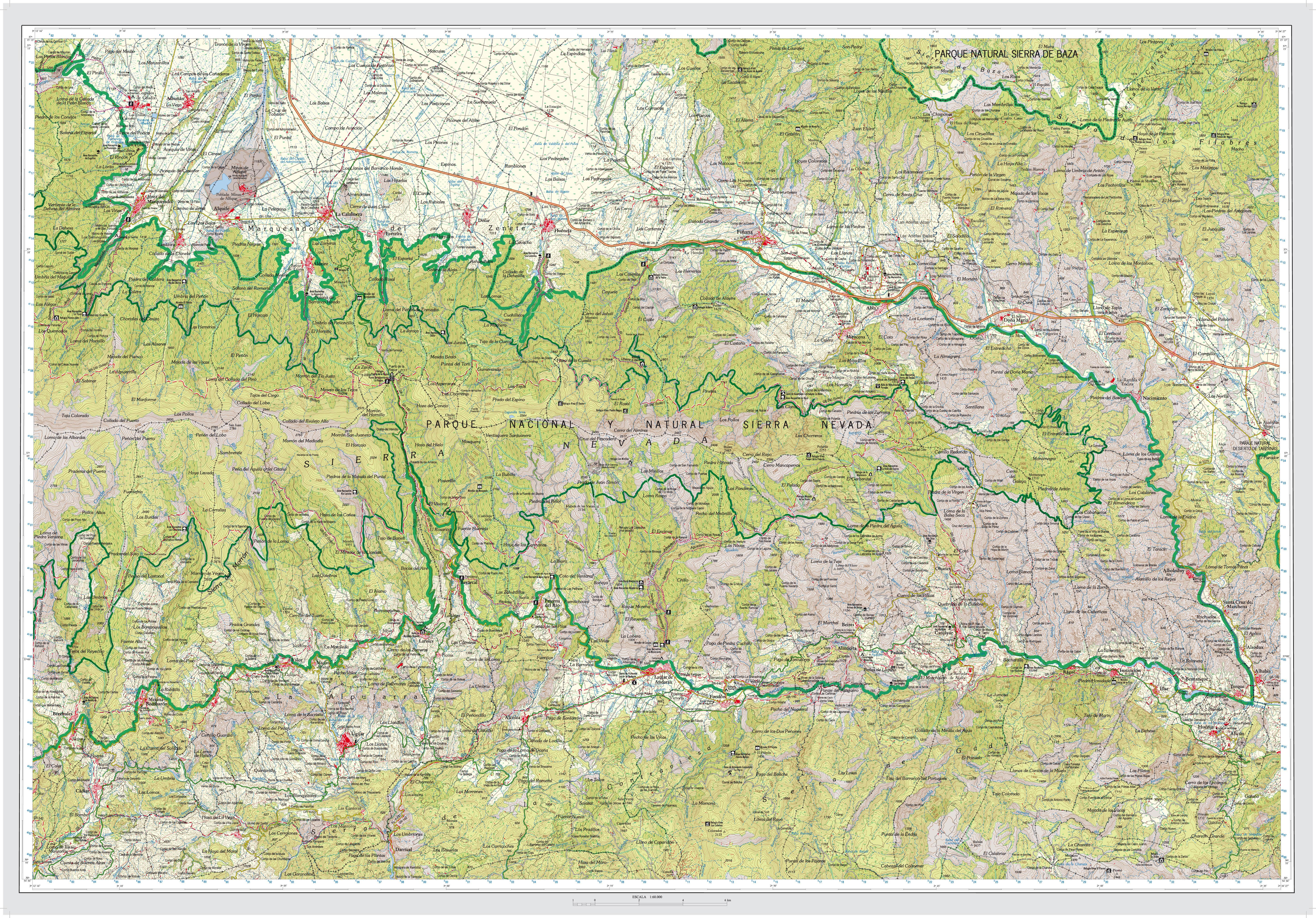 mapa sierra nevada Parque Natural de Sierra Nevada. Mapas guía (1995, 2007) :: Red de  mapa sierra nevada