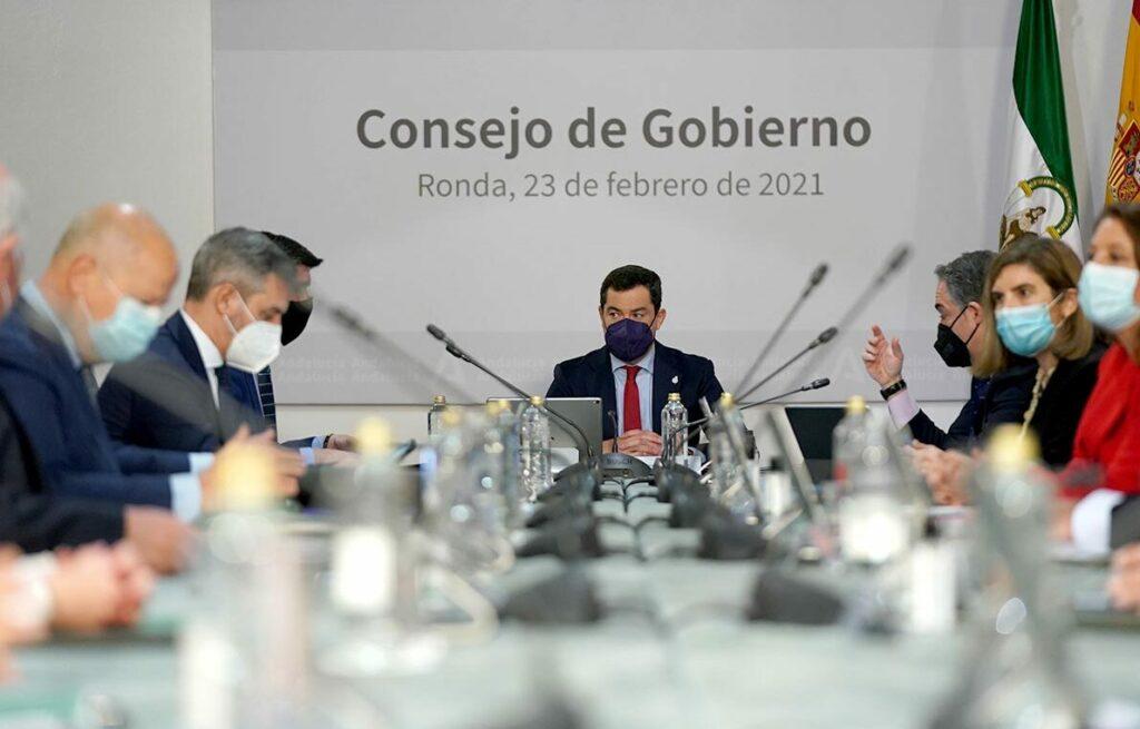 El Consejo de Gobierno de la Junta de Andalucía, reunido este martes en Ronda.