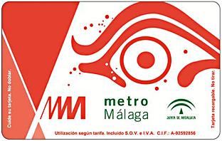 Tarjeta del metro de Málaga.