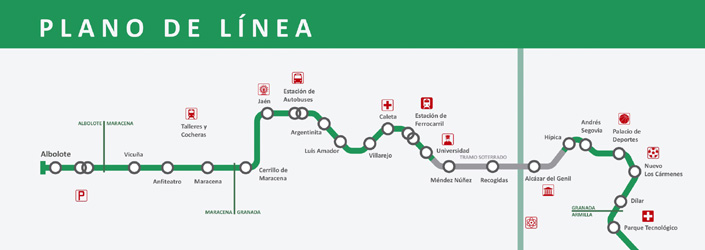 El metro de Granada tiene 26 estaciones y una flota de 15 trenes.