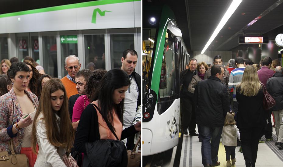 Viajeros en los metros de Sevilla y Málaga.