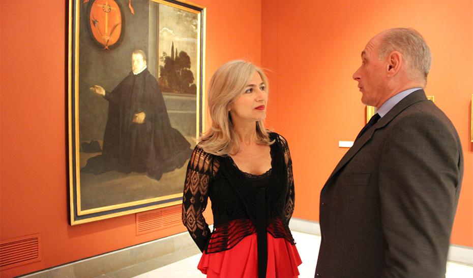 La consejera de Cultura, Patricia del Pozo, y Bernard Ruiz-Picasso, durante su visita al Museo de Bellas Artes de Sevilla