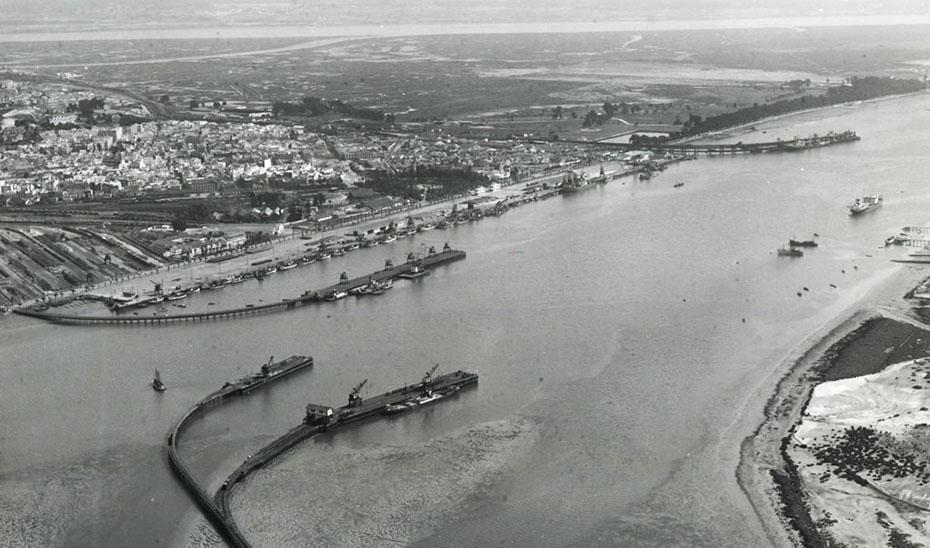 Vista aérea de Huelva hacia 1940.