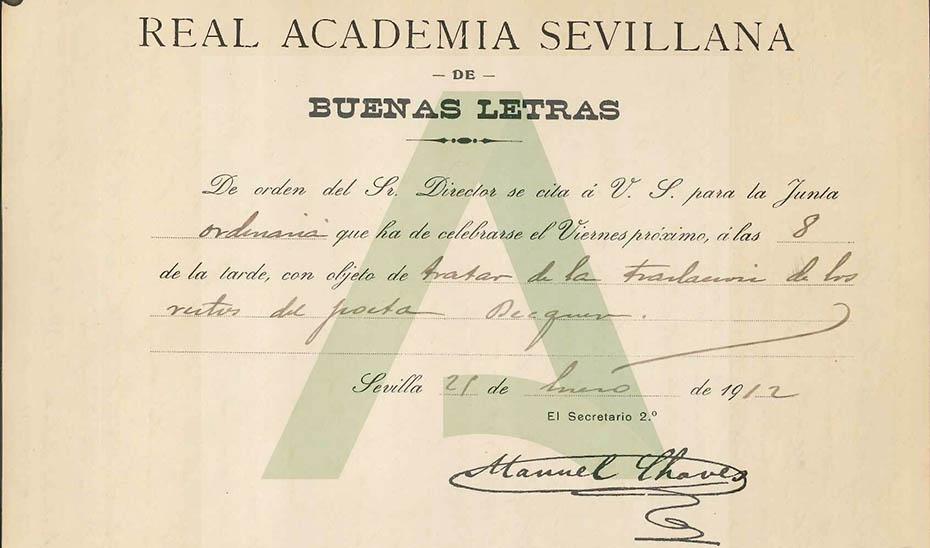 Convocatoria de la Real Academia en la que se trata el traslado de los restos del poeta.