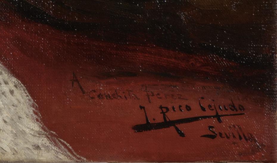 Detalle de la firma con dedicatoria del pintor, en la esquina inferior izquierda de la obra.