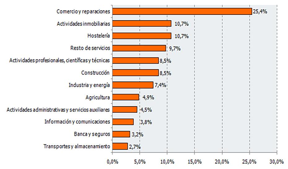 Gráfico de la distribución de las sociedades mercantiles constituidas según sector de actividad.