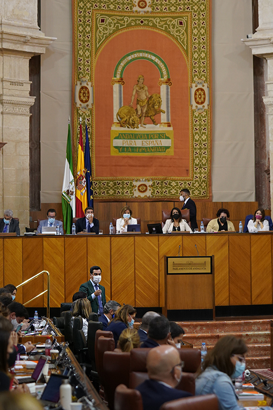 Vista general del salón del Plenos del Parlamento, durante la intervención de Juanma Moreno.