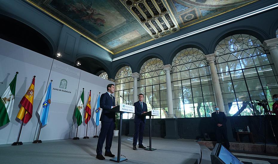 Comparecencia conjunta de Juanma Moreno y Alberto Núñez Feijóo tras el I Encuentro Andalucía-Galicia
