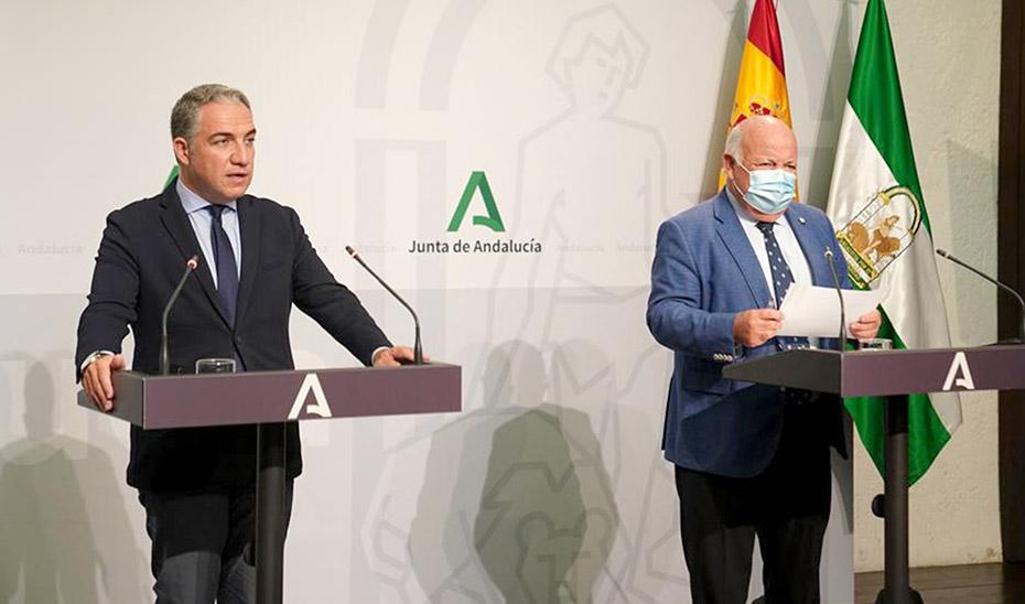 Comparecencia de Elías Bendodo y Jesús Aguirre tras el Consejo de Gobierno (audio íntegro)