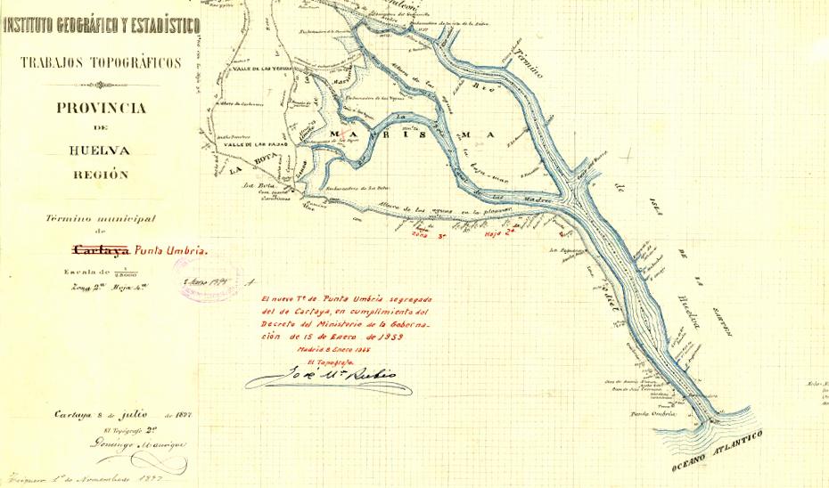 Mapa con los límites de los términos municipales de Huelva y Punta Umbría a finales del siglo XIX.