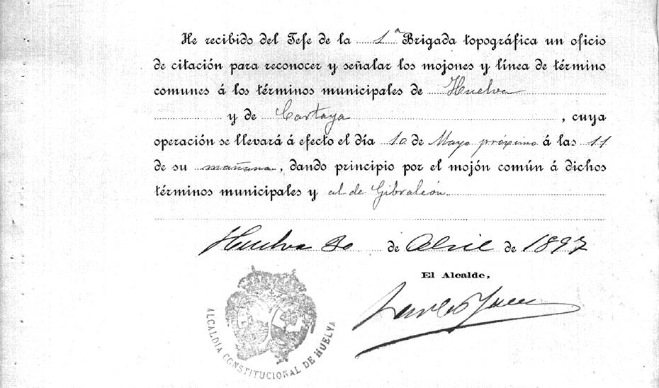 Citación al alcalde de Huelva en 1897 para determinar los límites territoriales de Huelva, Cartaya y Gibraleón.