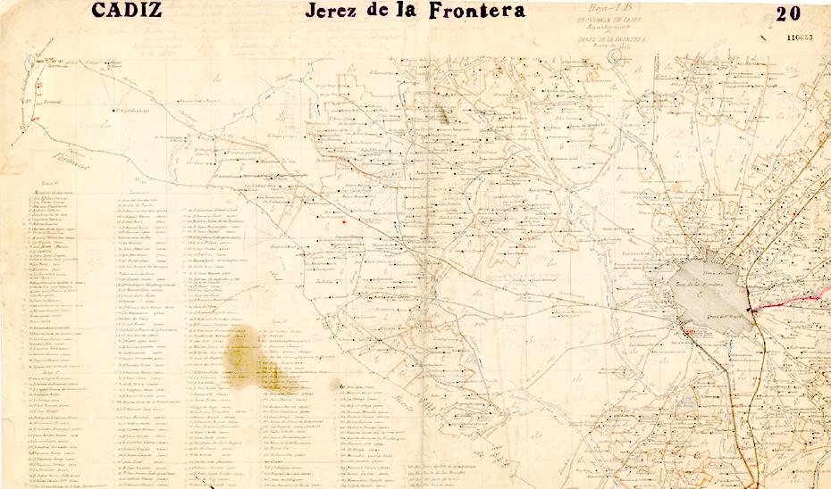 Mapa de Jerez en el que se aprecia el límite histórico con El Puerto de Santa María.