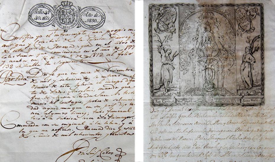 Documentos que se pueden ver en la exposición sobre la epidemia de fiebre amarilla en las ciudades de Sevilla y Málaga.