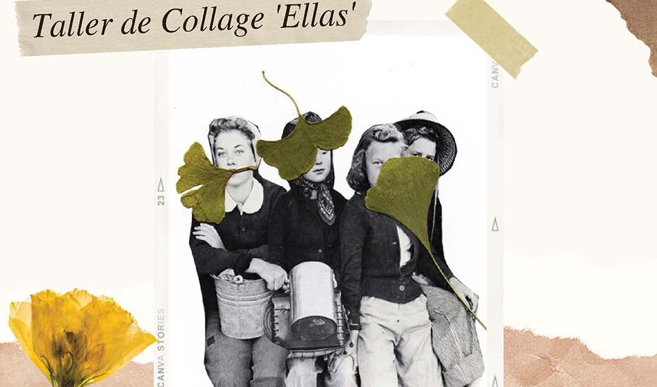 Detalle del cartel del taller de collage 'Ellas' que pone en marcha hoy el IAM.