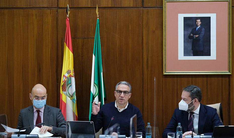 Elías Bendodo, durante su comparecencia en la Comisión de Presidencia, Administración Pública e Interior del Parlamento andaluz.
