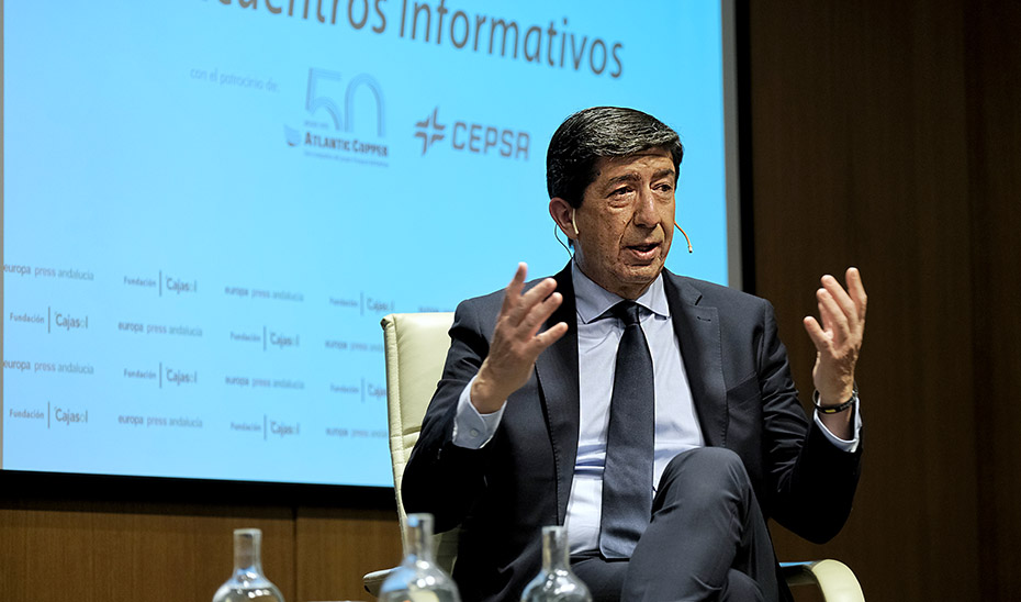 El vicepresidente de la Junta de Andalucía, durante su participación en los Desayunos de Europa Press.