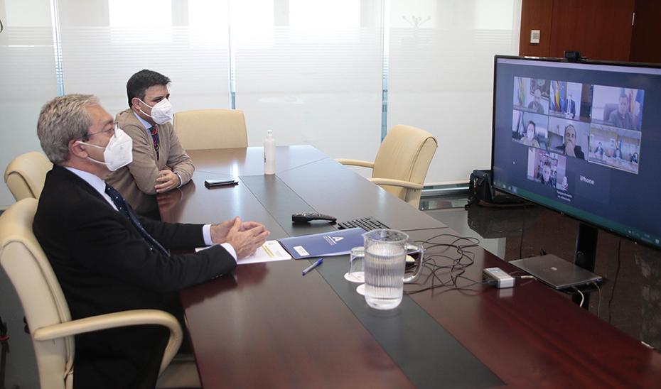 Rogelio Velasco, en un momento de la reunión mantenida de forma telemática.