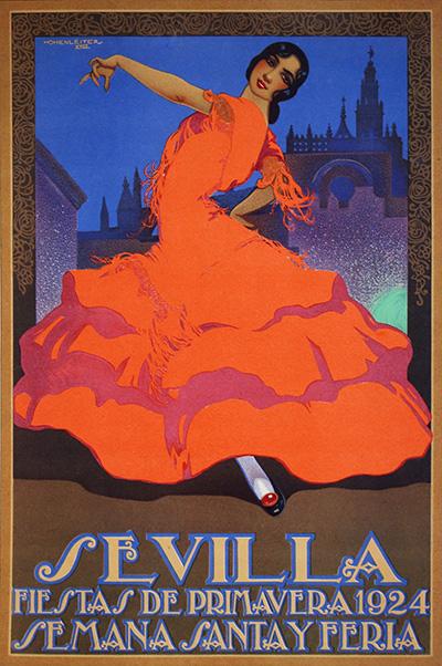 Cartel de fiestas de primavera en el que se puede observar el tipo de traje de flamenca en los años 20 del siglo pasado.