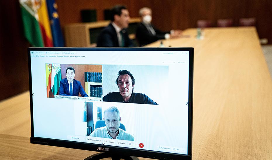 Detalle del encuentro virtual mantenido entre Moreno y González.