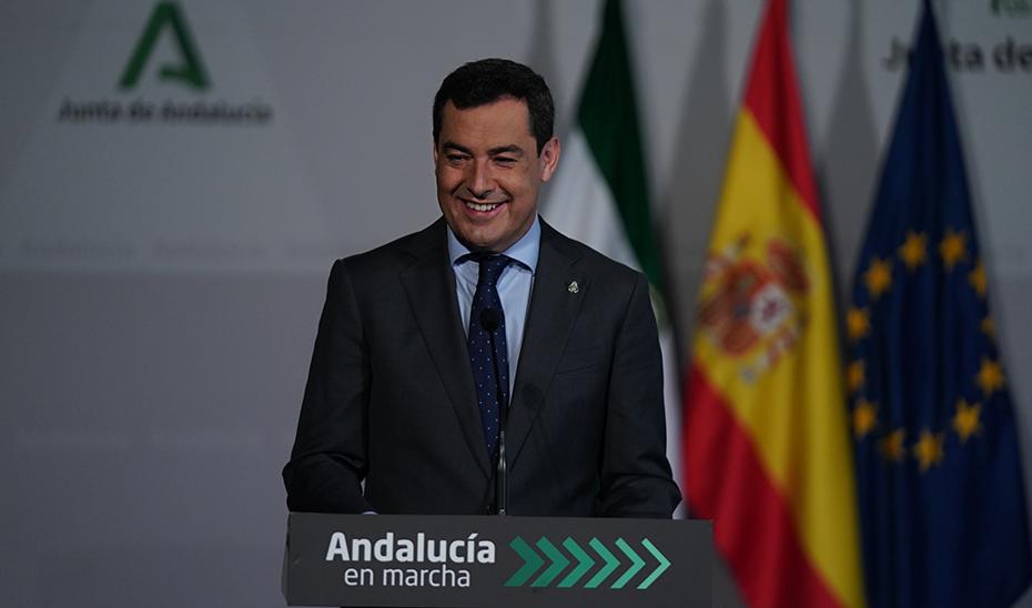 Intervención del presidente de la Junta tras la firma del convenio para la puesta en marcha del Plan Sumamos Salud+Economía en Andalucía