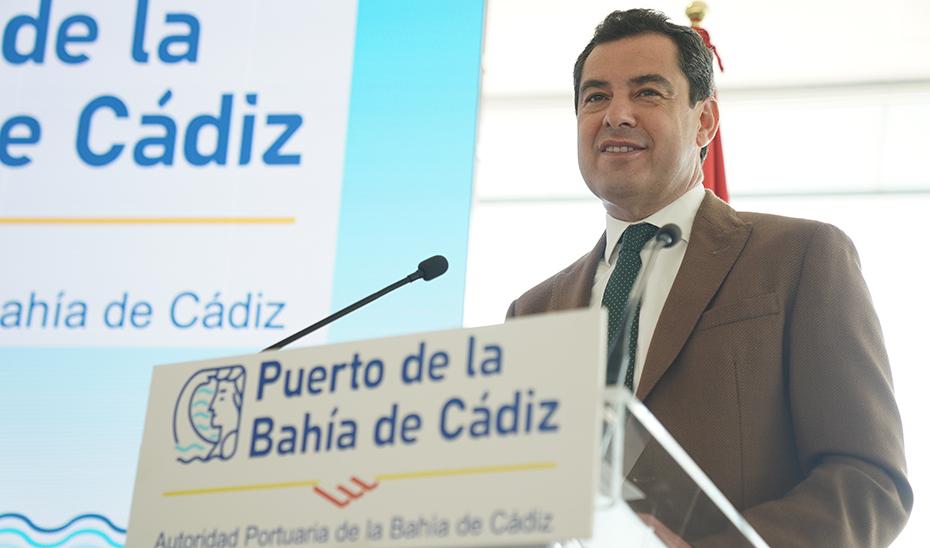 Intervención de Juanma Moreno en el Puerto de la Bahía de Cádiz (audio íntegro)