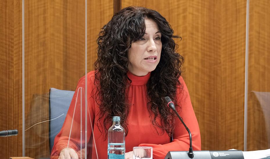 La consejera Rocío Ruiz, durante su comparecencia en la comisión informativa.