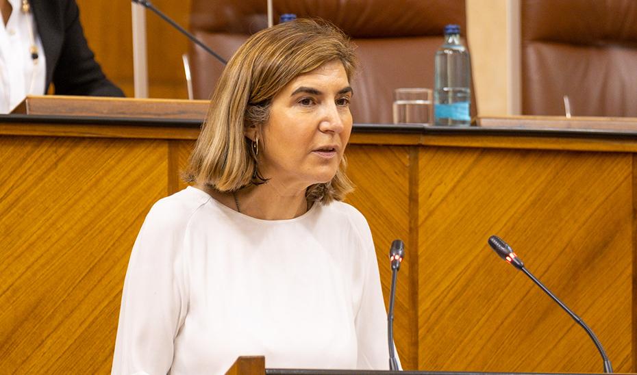 La consejera de Empleo, Formación y Trabajo Aurónomo, Rocío Blanco, durante el pleno del Parlamento.