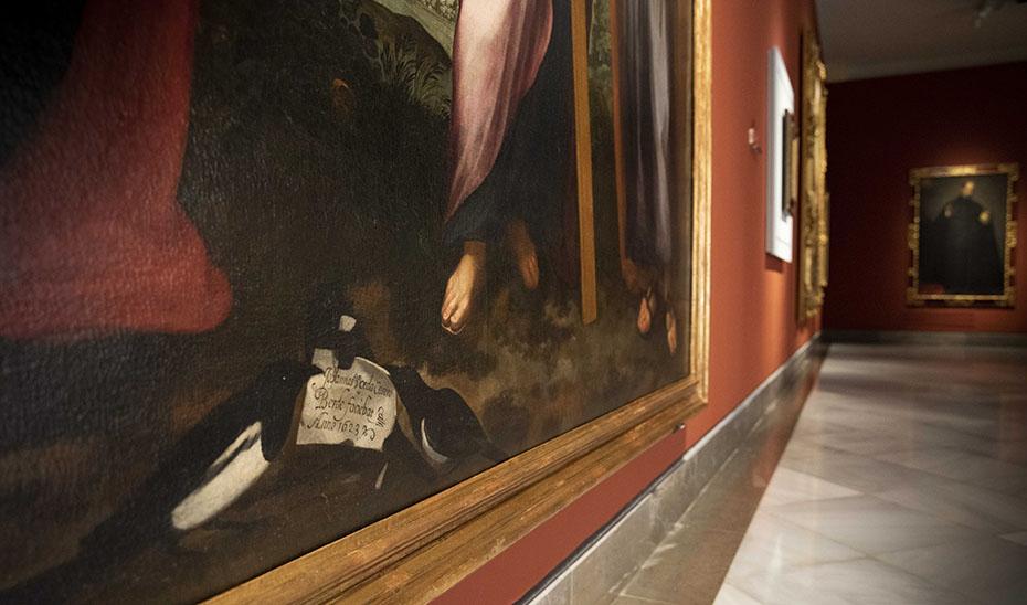 Firma de Juan de Uceda y Castroverde en su 'Sagrada familia'.
