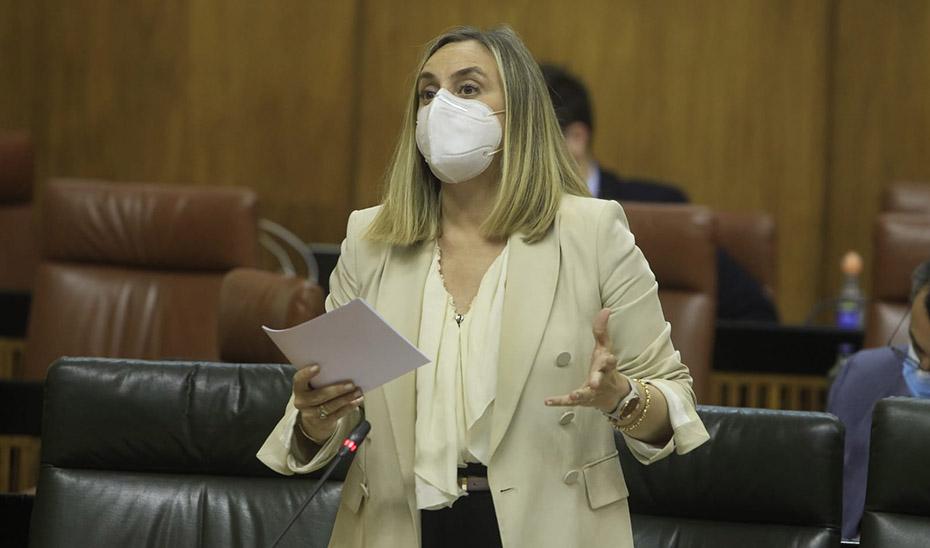 La consejera de Fomento, Marifrán Carazo, interviniendo este jueves en el Pleno del Parlamento andaluz.