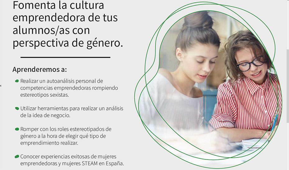 Detalle de uno de los folletos informativos con los objetivos de las webinars dirigidas específicamente al profesorado.