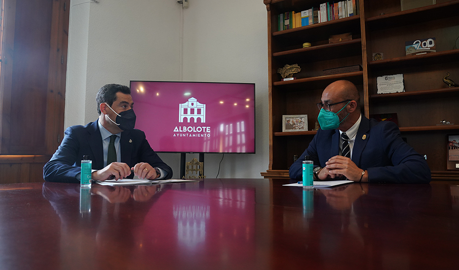 Intervención del presidente de la Junta durante su visita institucional a Albolote