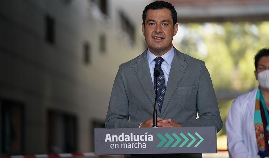 Intervención de Juanma Moreno en su visita al Hospital Costa del Sol de Marbella