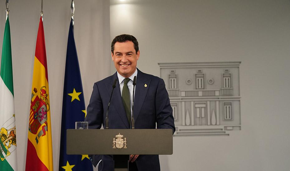 Intervención de Juanma Moreno tras la reunión con Pedro Sánchez