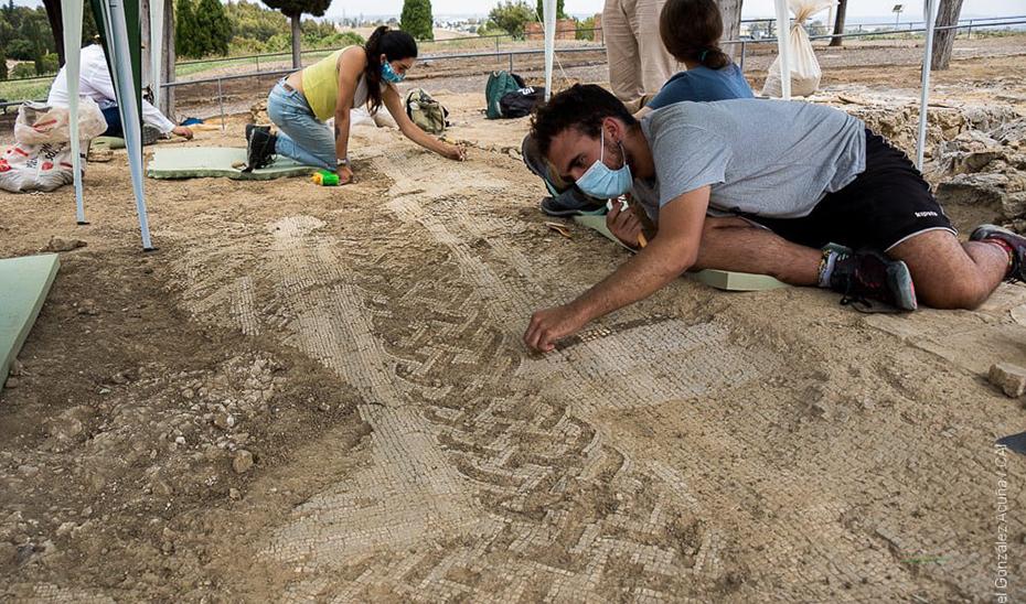 Mosaicos descubiertos en las últimas excavaciones en la Casa del Patio Rodio de Itálica.