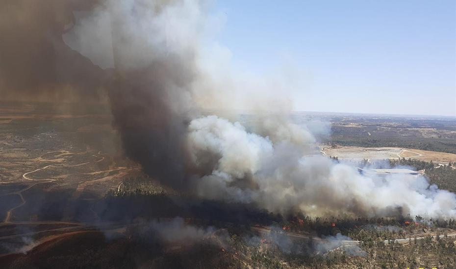 Cortada la carretera A-493 por un incendio forestal en Villarrasa (Huelva)