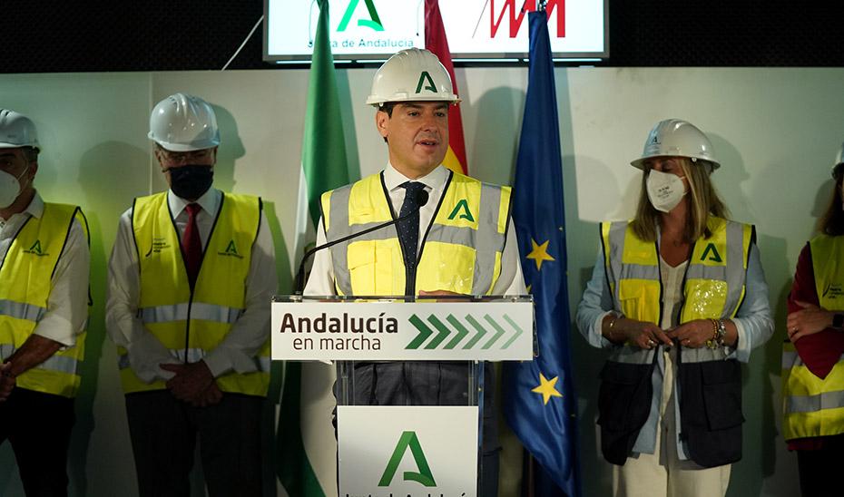 Intervención del presidente Juanma Moreno tras la visita a las obras del Metro de Málaga