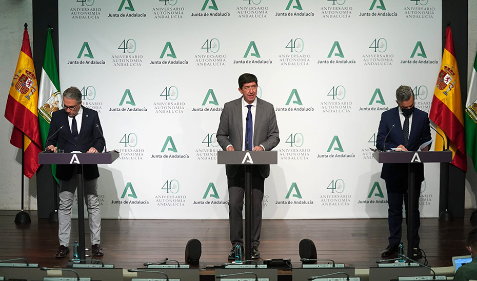 Comparecencia de Juan Marín, Elías Bendodo y Juan Bravo tras el Consejo de Gobierno (audio íntegro)
