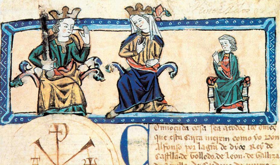 El Rey con su esposa Violante de Aragón y su hijo Fernando de la Cerda en el Códice Outos.