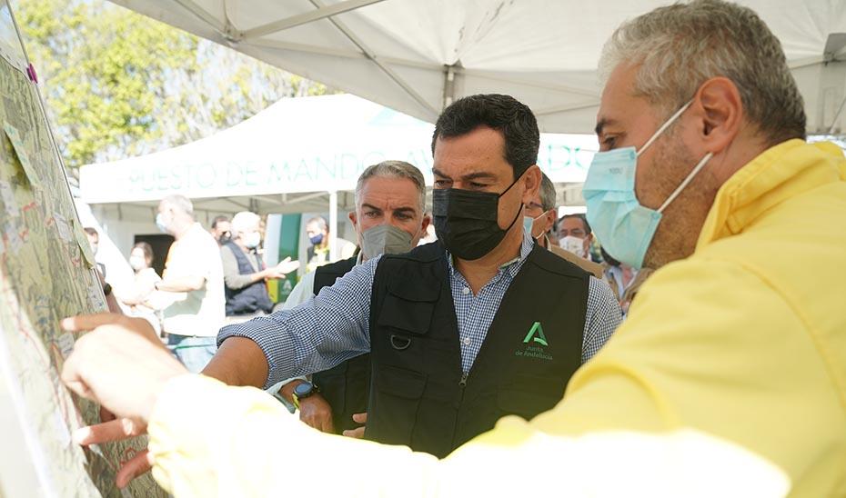 Intervención de Juanma Moreno en el Puesto de Mando Avanzado de Sierra Bermeja