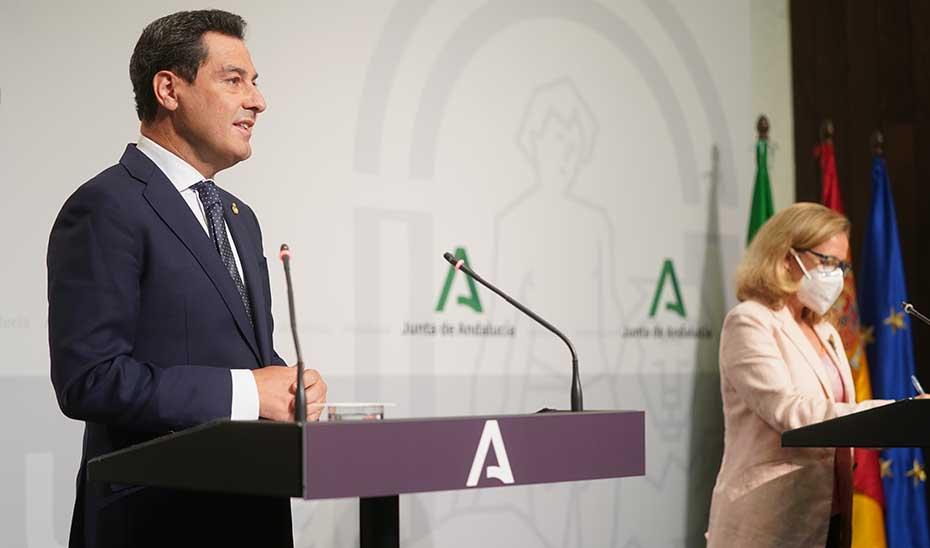 Intervención de Juanma Moreno tras la reunión con la vicepresidenta primera del Gobierno