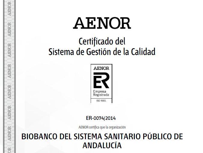 Imagen del certificado AENOR
