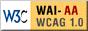 Icono de conformidad con el Nivel Doble-A, de las Directrices de Accesibilidad para el Contenido Web 1.0 del W3C-WAI