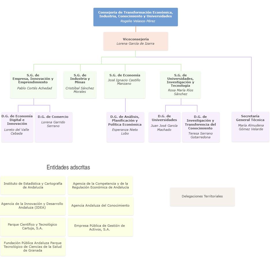 Gráfico de Organigrama de la Consejería de Transformación Económica, Industria, Conocimiento y Universidades