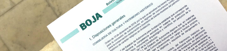 Página de BOJA con Resolución de la Consejería de Cultura